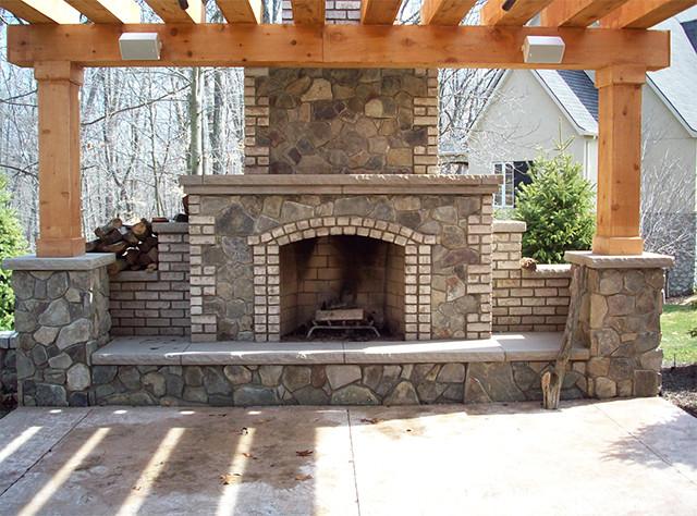 Custom Brick Stone Fireplace in Michigan