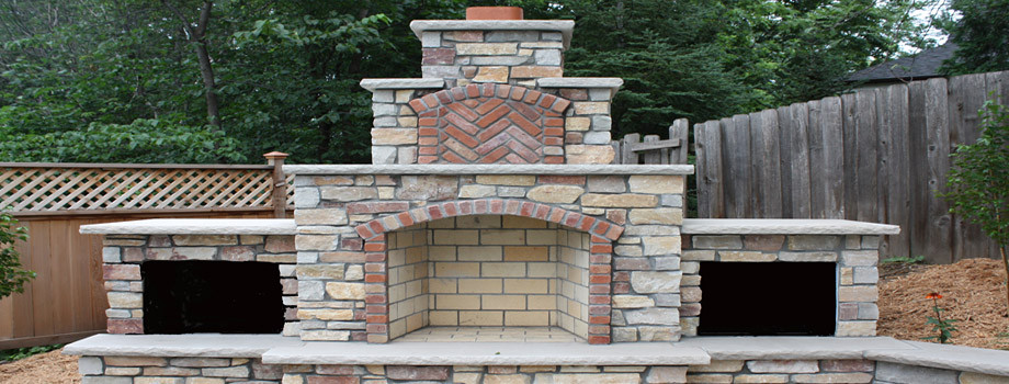 Outdoor Brick Fireplace In Michigan